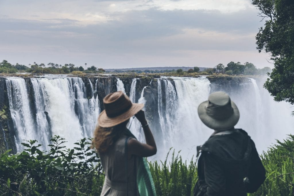 Guests on a walking tour of Victoria Falls at Matetsi