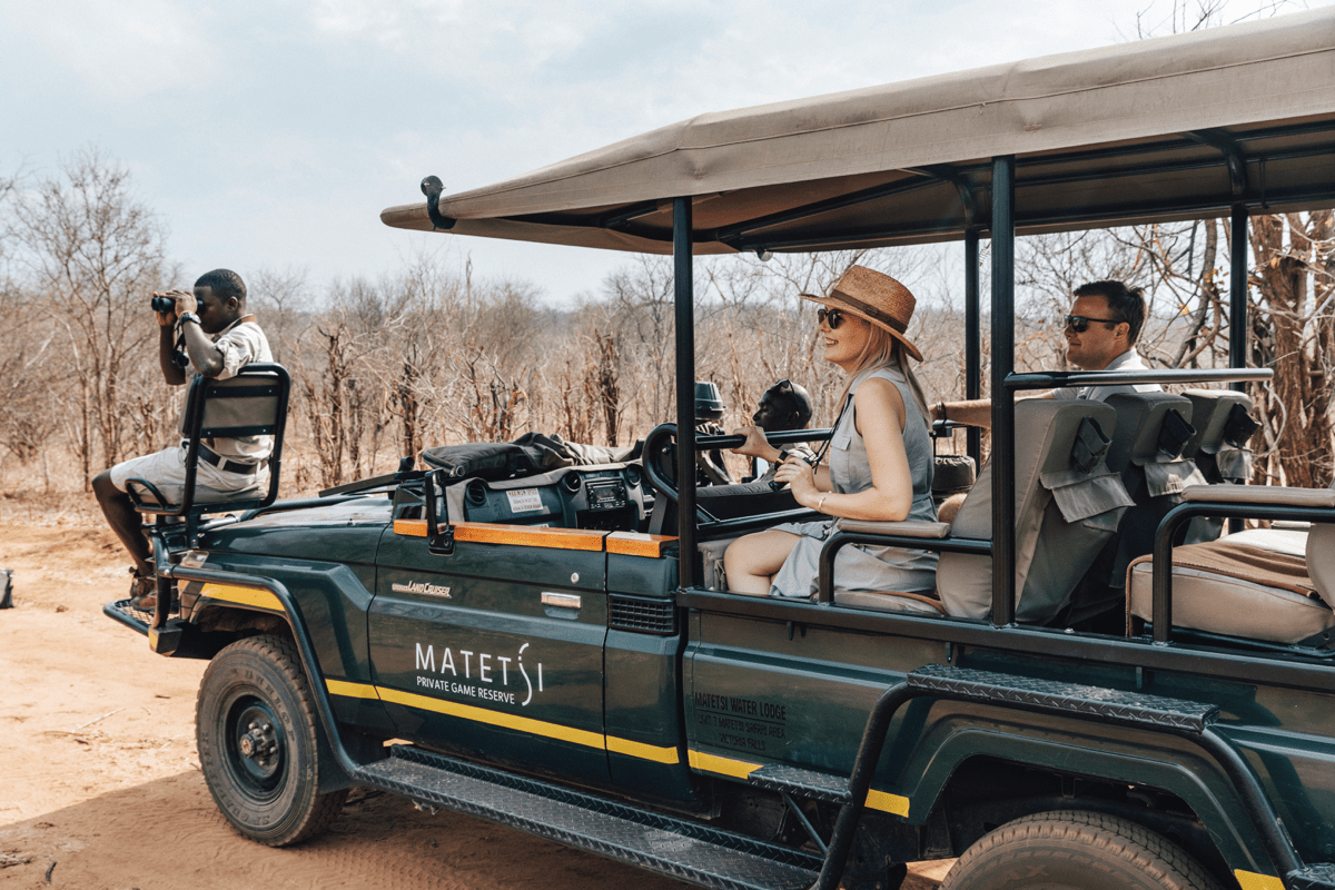 Guests on a game drive at Matetsi Victoria Falls