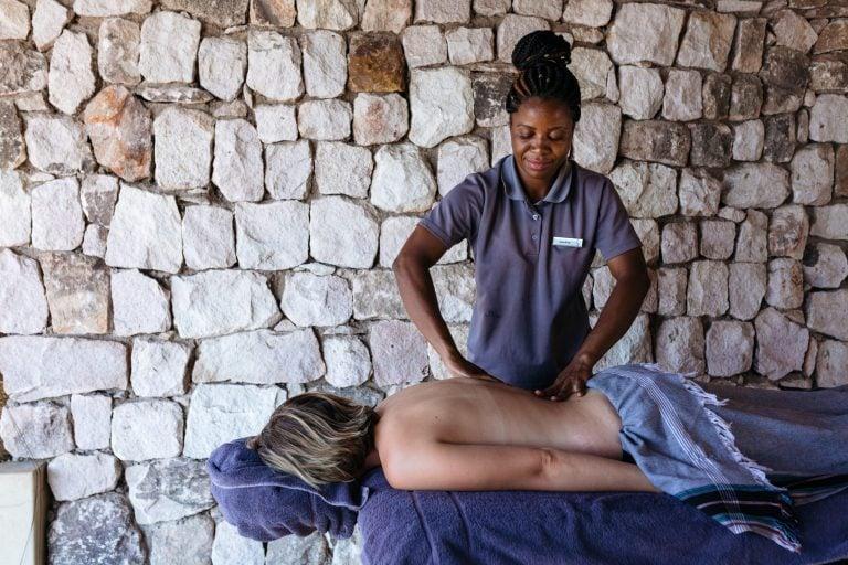 A guest receiving a massage at Matetsi Victoria Falls